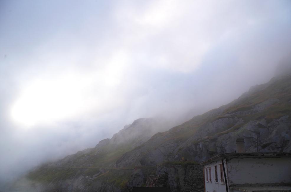 Nebel auf dem Großen Sankt Bernhard