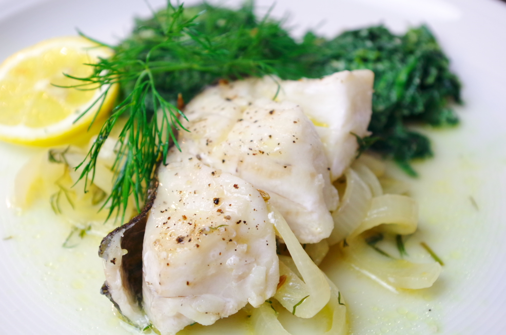 Skrei in Fenchel-Dill-Sud an Spinat-Ricotta-Nocken